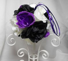 Black And Purple Wedding Pomander Kissing Ball With Roses For Decoration Or Bouquet. $19.95, via Etsy.