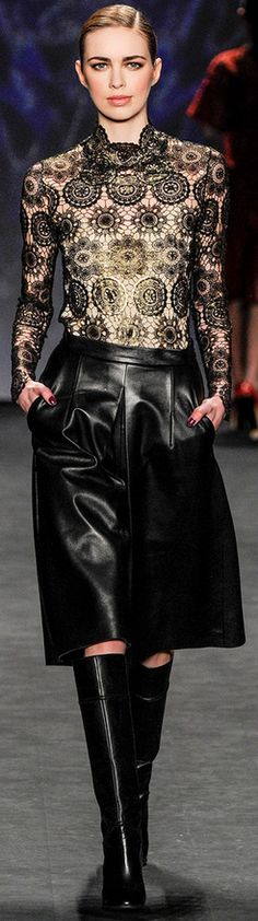 Vivienne Tam Fall leather and lace Fashion In, Leather Fashion, Fashion Details, Runway Fashion, Womens Fashion, Fashion Design, Fashion Trends, Fashion Black, Elie Saab
