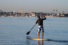 The gentle waters of Mission Bay are ideal for standup paddleboarding