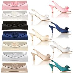 NEW WOMENS PARTY BRIDAL PROM SATIN FLOWER SHOES SLINGBACK LOW HEEL WEDDING #CORECOLLECTION #LowMidHeelSandals