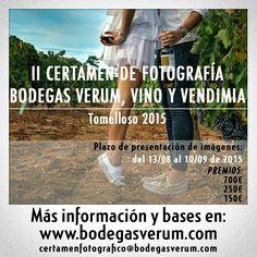Ya podéis enviar vuestras fotografías para participar en el II Certamen Nacional de Fotografía: Bodegas Verum Vino y Vendimia. Todas las bases en la web: www.bodegasverum.com #certamen #fotografia #bodega #Verum #vino #vendimia #foto #concurso #foto #igers #instagramer #instawine #enoturismo #tomelloso #españa #instantanea #arte #bonito #instabueno #imagendeldia #fotodeldia #color #exposicion #composicion #foco #captura #momento #viñedo #botella #wine #foodie