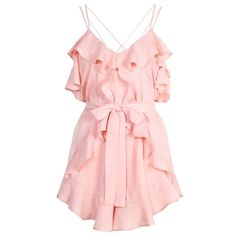 Alice McCall Made For This Playsuit (1.140 BRL) ❤ liked on Polyvore featuring jumpsuits, rompers, dresses, playsuits, pink romper, ruffle romper, playsuit romper, pink rompers and alice mccall