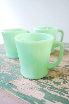 Vintage 1940s Jadeite FireKing Mugs  Set of 3 by shoplucilles, $42.00