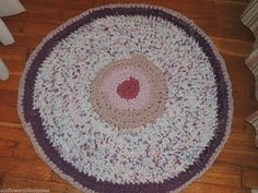 "Hand Made Crochet Rag Rug ~NEW 30"" Beautiful Lavender ~ Shabby Country Prim"