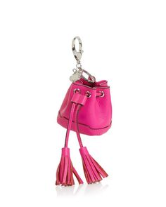 Rebecca Minkoff Lexie Bucket Key Fob In Flamingo Claire's Accessories, Bohemian Accessories, Cool Keychains, Keychain Ideas, Bucket Purse, Leather Keychain, Small Leather Goods, Card Wallet, Locket Charms