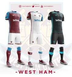 Premier League Concept Kits - All Premier League Kits Redesigned By Qehzy - Footy Headlines World Football, Football Kits, Premier League Teams, British Football, West Ham, Soccer Shirts, Sports Games, Sport T Shirt, Sport Fashion