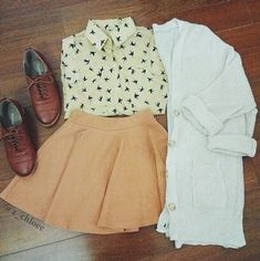 I love the blouse, skirt, and shoes so much!