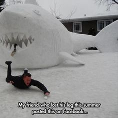 Shark attack in a blizzard. This would make a good Assylum movie. Snow shark attack. Shark bites leg off. Funny Pictures Of The Day – 92 Pics