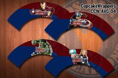 AVENGERS Cupcake Wrapper  Printable & by kidspartykreations, $12.00