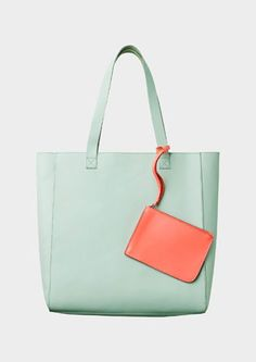 Leather tote bag in mint and clementine