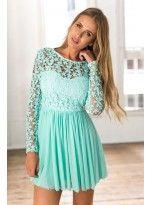 Mint Tulle Crochet Long Sleeve Dress