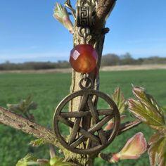 Large Antique Bronze Pentacle Pendant With Faceted Carnelian Gemstone Bead - Pentagram Pendant - Hippy Magic by PhoebesBazaar on Etsy