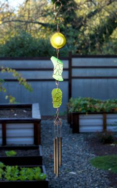 Sun Catcher Wind Chime Sea Glass Copper with Brass Chimes