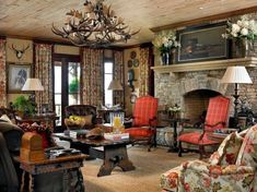 Red, white, olive green and tan living room with stone fireplace -- interior design: Francie Hargrove English Cottage Style, English Country Decor, Formal Living Rooms, Living Spaces, Interior Decorating, Interior Design, Decorating Ideas, Le Far West, Rustic Elegance