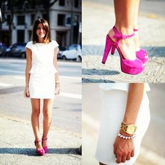 Peplum, White Dress with pink heels. Lookbook.nu maybe have the color of the wedding on the shoes, for a shower