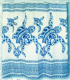 Hawaiian Fabric Shower Curtain!!! Bebe'!!! Perfect shower curtain for the beach house or coastal cottage!!!