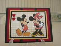 Mickey & Minnie Mouse Thank You by a1r601 - Cards and Paper Crafts at Splitcoaststampers.   SU Stipple Plaid background