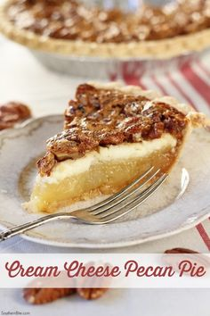 The delicious cream cheese layer in this Cream Cheese Pecan Pie really puts it over the top! The delicious cream cheese layer in this Cream Cheese Pecan Pie really puts it over the top! Just Desserts, Delicious Desserts, Fall Desserts, Pecan Desserts, Strawberry Desserts, Party Desserts, Healthy Desserts, Healthy Recipes, Pie Recipes
