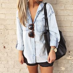 AG Jean button down for a casual look / via: www.herlovelystyle.com
