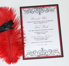 Embellished Paperie Blog | Custom 55th Birthday Invitation – Moulin Rouge Style – Black, White and Red