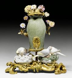 SMALL FOUNTAIN WITH PORCELAIN AND BRONZE,  Louis XV, France, 18th century.