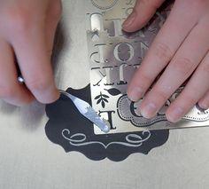 DIY: Chalkboard Monogram Cookies - Project Wedding Abc Cookies, Royal Icing Cookies, Cupcake Cookies, Cupcakes, Cake Decorating Techniques, Cake Decorating Tutorials, Cookie Decorating, Stencil Cutter, Chalkboard Cake
