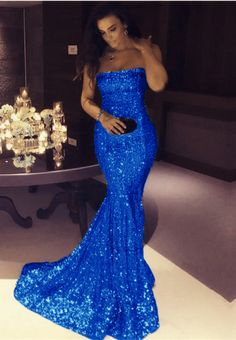 royal blue prom dress,royal blue evening gowns,royal blue mermaid dress,strapless prom dress,sequin mermaid dress,sequin gowns,sequin bridesmaid dress,sexy prom dress,mermaid prom dresses 2018