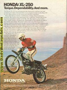 1973 Honda first bike I had to buy on my own. Vintage Cycles, Vintage Bikes, Vintage Ads, Honda Dirt Bike, Honda Bikes, Enduro Motorcycle, Motorcycle Posters, Classic Honda Motorcycles, Vintage Motorcycles