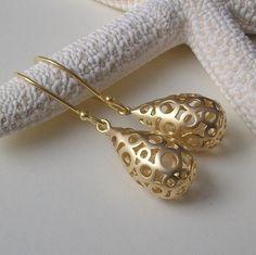 Modern Polka Dot Gold Drop Earrings Dainty by PeriniDesigns, $19.00