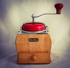 Vintage PEDE Coffee Grinder Dutch Table Curve Box Mill c1950 Peter Dienes RARE