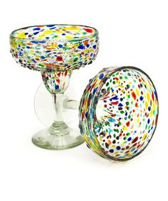 Loving this Confetti Recycled Margarita Glass - Set of Two on #zulily! #zulilyfinds