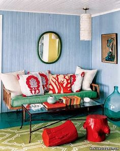 """See the """"Bright Red Accents"""" in our Red Rooms gallery Living Colors, Bungalow Homes, Decoration Originale, Beach Bungalows, Red Rooms, Red Accents, Home And Deco, Apartment Interior, Sweet Home"""