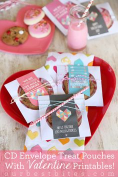 Use a paper CD envelope with a plastic window to display Valentine goodies!  Free Printables and tutorial from Our Best Bites.