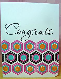 handmade card ... bright and beautiful stamped hexagons ... luv the color combos used ... Paper Trey Ink ...