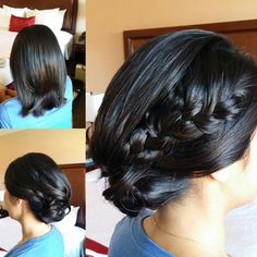 Hair transformation into this elegant pulled back updo.