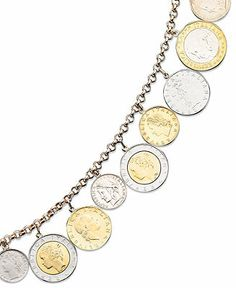 Gold Over Sterling Silver Bracelet, Lira Coins Charm Bracelet from Macy's. Tickled pink I got mine before Christmas at a doorbuster sale for off! Coin Jewelry, Charm Jewelry, Jewelry Bracelets, Jewelry Watches, Glass Jewelry, Beaded Jewelry, Jewellery, Estilo Hippie Chic, Wing Earrings