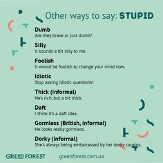 Other ways to say STUPID.