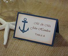 50 Anchor Nautical Wedding Escort Cards, Nautical Wedding or Shower Place Cards - Printed. $50.00, via Etsy.