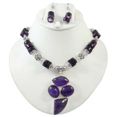 Silvertone Amethyst Stone Engraved Metal Necklace Set Women Fashion Jewelry #iba #NotSpecified