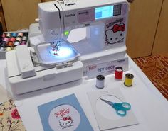 The Brother NV980K producing a Hello Kitty embroidery.