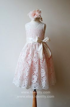 "READY to Ship - SALE- Ivory Lace Dress with Pink lining, ""Petra"" with Ivory Silk Sash and Bow, Flower Girl Dress, SIZE 6-7. $180.00, via Etsy."