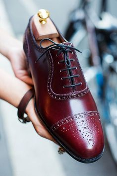 Oxblood oxford with a cap toe and broguing