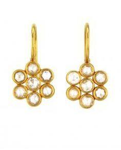 22 Karat Yellow Gold Diamond Flower Earrings