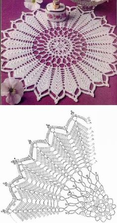 Crochet: Tablecloths square and rectangularThis Pin was discovered by katKnitted napkins and little things for home Free Crochet Doily Patterns, Crochet Doily Diagram, Crochet Circles, Crochet Mandala, Crochet Chart, Crochet Motif, Crochet Lace, Crochet Coaster, Filet Crochet