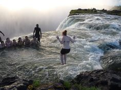 The Devil's Pool at the Victoria Falls in Zimbabwe.