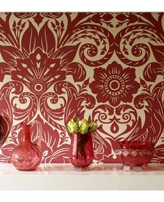 red cotswold damask wallpaper