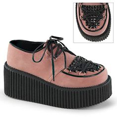Flaunt a unique style in the Creeper 216 from Demonia. Its vamp features pyramid-shaped studs, flat-waxed lace-up closure and piping detail, and a D-ring lace-up pentagram. The platform adds statement-making height. Platform Creepers, Platform Shoes, Sneakers Mode, Sneakers Fashion, Fashion Shoes, Pink Shoes, Lace Up Shoes, Flat Shoes, Sandals