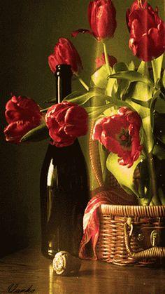 canasta flores botella gif