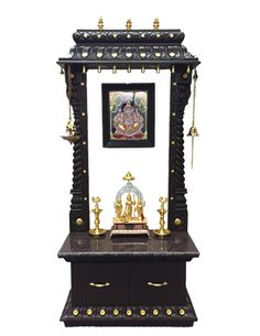 Modern Altar Cabinet for Your Home. The flat panel cabinet is now increasingly popular and has lots of fans. This is because, this type of cabinet using magnets, so. Temple Room, Home Temple, Krishna, Temple Design For Home, Mandir Design, Pooja Mandir, Pooja Room Door Design, Puja Room, Prayer Room