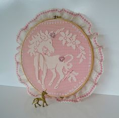 New Listing! Vintage Brass Unicorn and Unicorn embroidery hoop by JudysJunktion, $25.00